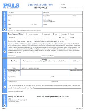 Fillable Online pals-labs Discount Lab Order bFormb 844-770