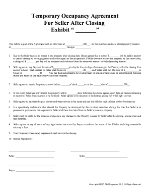Fillable Online Temporary Occupancy Agreement - Printable Real Fax ...