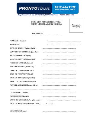 Fillable Online Cuba Visa Application Form Kba Vzes Bavuru Formu Fax Email Print Pdffiller