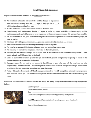 Fillable Online Hotel pet policy (guest agreement form) Fax Email ...