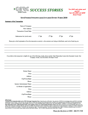 SWEEPSTAKES ENTRY FORM 20102doc