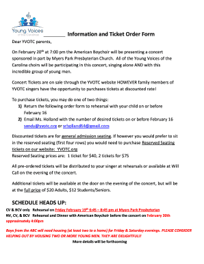 Fillable Online Yvotc Information And Ticket Order Form Dear