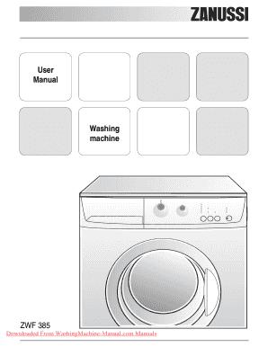 fillable online zanussi zwf 385 washing machine user manual pdf rh pdffiller com electrolux zanussi washing machine instruction manual zanussi washing machine operating instructions