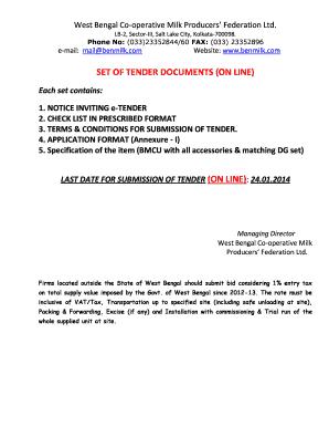 Fillable Online Set of tender documents (on line) - West