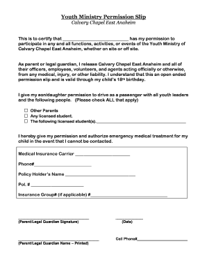 youth group permission slip template