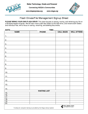 Flash Drives/File Management Signup Sheet - BTOP Express - btopexpress