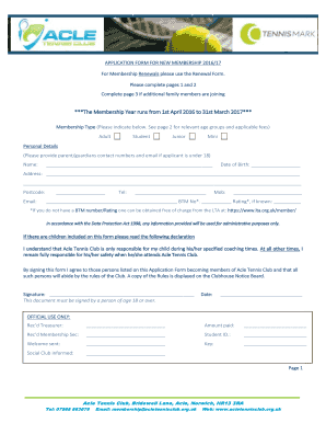 APPLICATION FORM FOR NEW MEMBERSHIP 2016/17 For Membership Renewals please use the Renewal Form - acletennisclub org