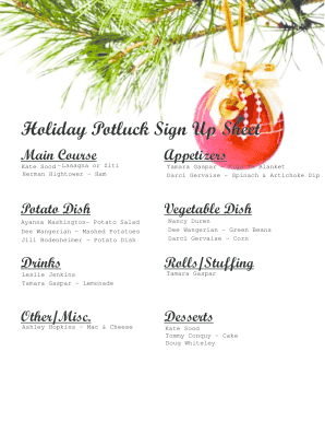 Holiday Potluck Sign Up Sheet Fill Online Printable