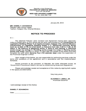 NOTICE TO PROCEED - ormindorogovph