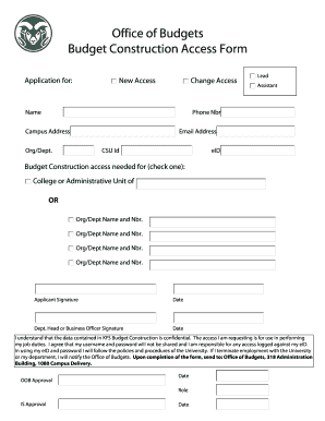 Office of Budgets Budget Construction Access Form