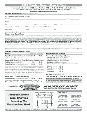 Fillable Online houstonmopars HMSR 2003 Flyer/EntryV2 - The