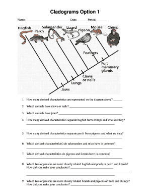 Fillable Online Interpreting and Constructing Cladograms - Biology ...