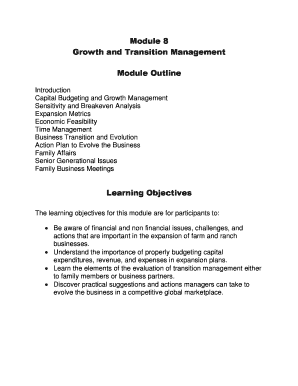 Module 8 Growth and Transition Management Module Outline
