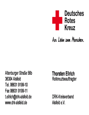 Fillable Online Drk Alsfeld 02311004 Visitenkarten 85x55