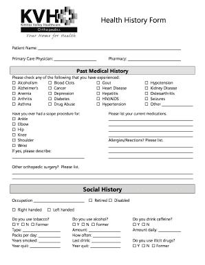 Fillable Online kvhealthcare Health History Form - Kittitas