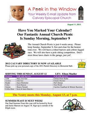 Have You Marked Your Calendar Our Fantastic Annual Church