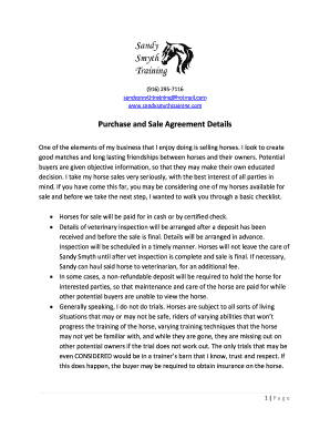 Purchase and Sale Agreement Details - Sandy Smyth Training