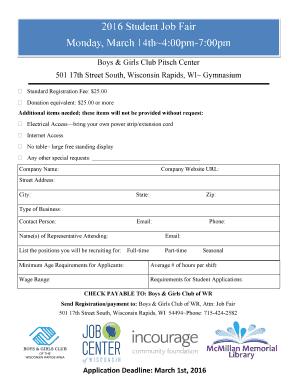 fillable online bgcwra printable employment application boys