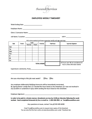 7 printable weekly employee timesheet forms and templates fillable