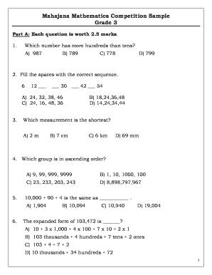 Fillable Online Mahajanan Mahajana Mathematics Competition Sample