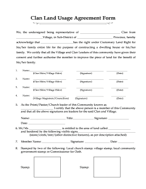 Clan Land Usage Agreement Form   Aonhewittcomau