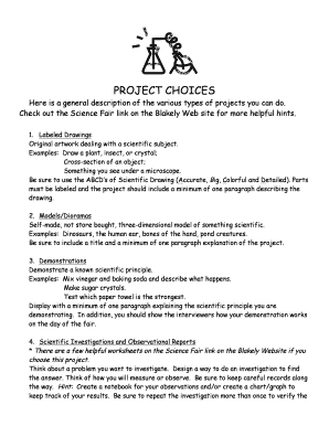 PROJECT CHOICES docx Fill Online, Printable, Fillable, Blank