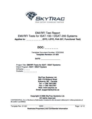 Fillable Online skytrac EMIRFI Test Report EMIRFI Tests for