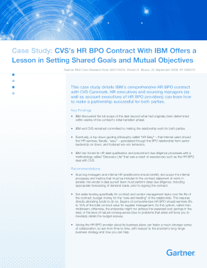 Fillable Online Case Study: CVSs HR BPO Contract With IBM Offers a