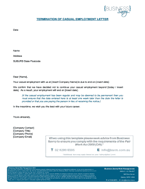 Termination of casual employment letter - Business Savvy Risk ...