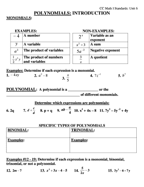 Cc Math 1 Standards Unit 6 - Fill Online, Printable, Fillable, Blank ...