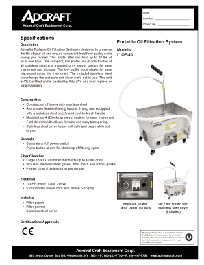 Fillable Online Speci Cations Portable Oil Filtration System