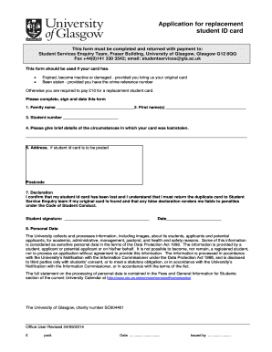 Application for replacement bstudent ID cardb - University of Glasgow - gla ac