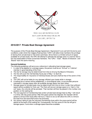 Private Boat Storage Agreement 2016/2017 - Calgary Rowing Club