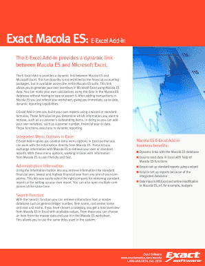 Fillable Online Exact Macola ES: E-Excel Add-in Fax Email Print