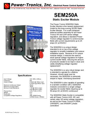 Power-Tronics SEM250A Static Exciter Module