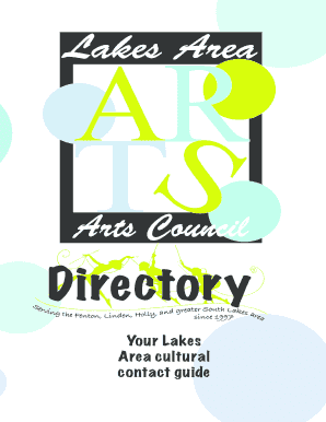 Your Lakes Area cultural contact guide WELCOME TO THE LAKES AREA ARTS COUNCIL DIRECTORY - lakesareaartscouncil