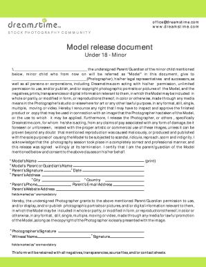 Fillable Online Model release document - Dreamstime com Fax