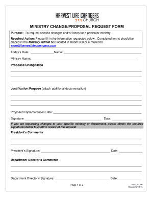 Fillable ministry proposal sample - Edit Online & Download Financial