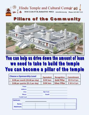 Fillable Online htccwa 2015 HTCC Calendar - Hindu Temple and