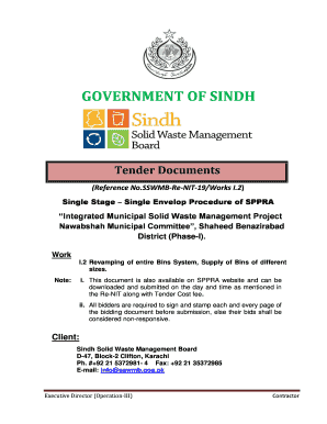 Fillable Online sswmb gos BID Documents NIT-19-I 2 - Sindh Solid