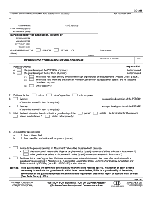 Terminate Legal Guardianship Form G C 255 - Fill Online, Printable ...