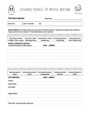 Performance Appraisal Form Example - Florida Literacy Coalition - floridaliteracy