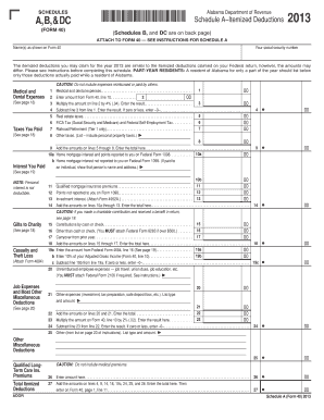 alabama department of revenue schedule a b cr & dc form