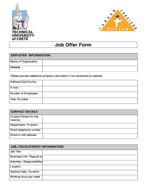 Job offer form fill online printable fillable blank preview of sample applicable form rating thecheapjerseys Images