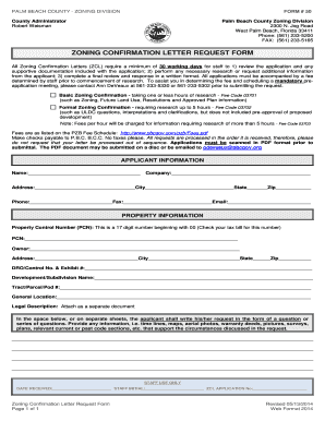 ZONING CONFIRMATION LETTER REQUEST FORM - Palm Beach County
