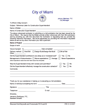 Construction Superintendent Reference Letter Form - City of Miami