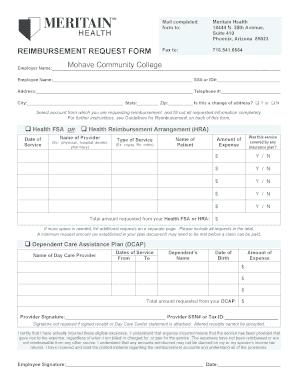 Meritain Health Reimbursement Request Form Arizona - Fill ...