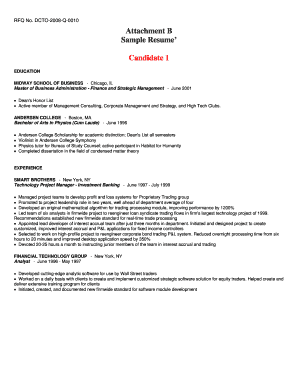 Fillable Online app ocp dc Attachment B - Sample Resume.doc. ESA ...