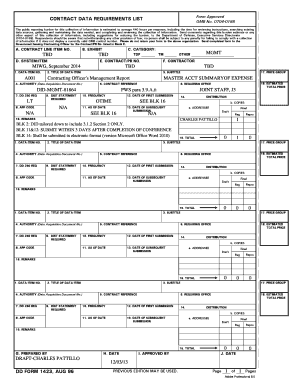Fillable Online neco navy DD Form 1423, Contract Data Requirements ...