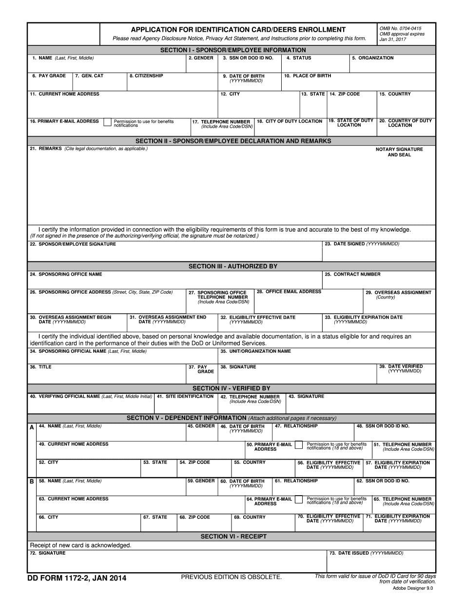dd form 1172-2 march 2017